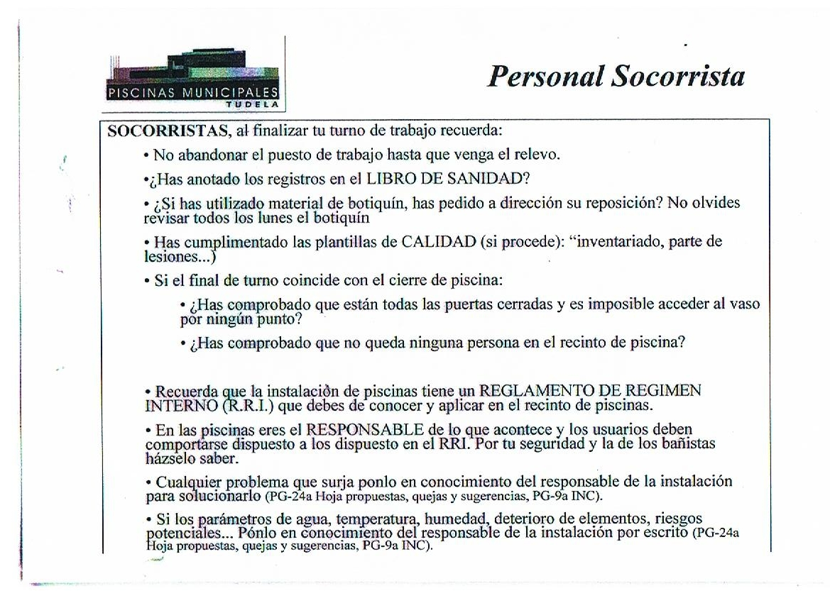 Socorrismo for Ejemplo protocolo autocontrol piscinas